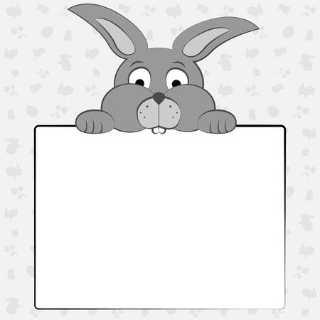 Gray rabbit holding a sheet of paper on gray background with symbols of Easter .