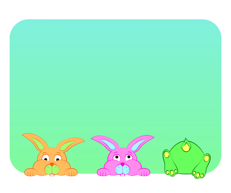 Fun , multi-colored rabbits look out of the window on a blue background .