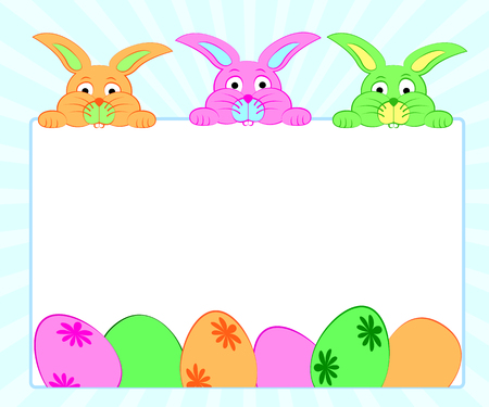 Background with colorful bunnies and eggs for Easter with free space .