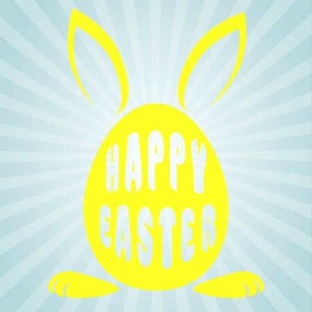 Yellow egg with rabbit ears and the words happy Easter on a blue background . Иллюстрация
