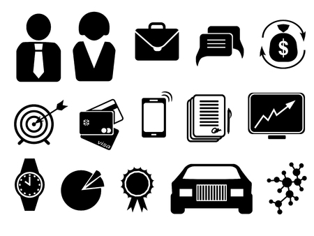 Business icons are black silhouettes on a white background .