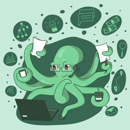 Octopus-businessman is actively working on a laptop.