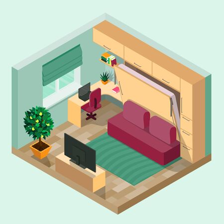 A room with an interior in isometry . 向量圖像