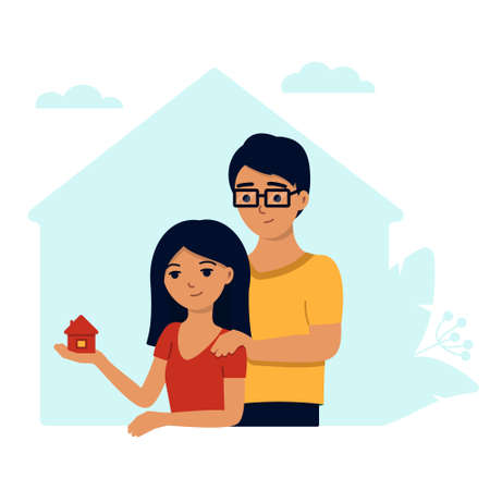 A young family buys a house , a woman holds a house in the palm of her hand and smiles, a man puts his hand on his shoulder as a sign of support .
