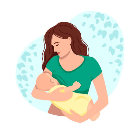 Vector illustration of breastfeeding, a mother breastfeeding a baby .