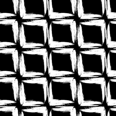Abstract seamless pattern of white squares drawn with a brush on a black background.