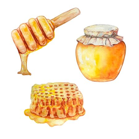 honey in a glass jar, honeycombs with honey