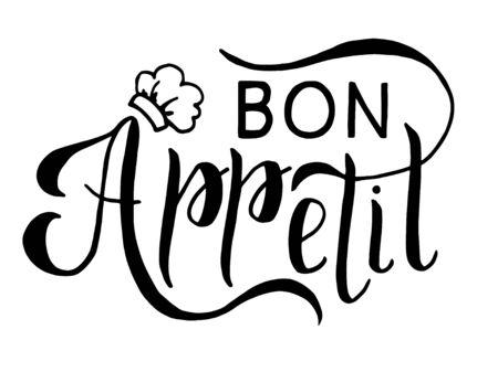 hand-drawn bon appetit black lettering on a white background Reklamní fotografie