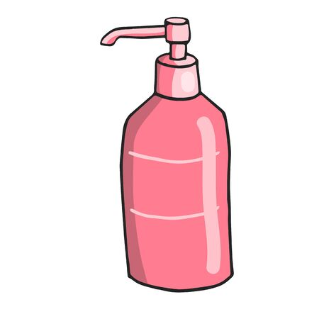 color hand-drawn picture of personal care bottles with tonic in doodle style  イラスト・ベクター素材