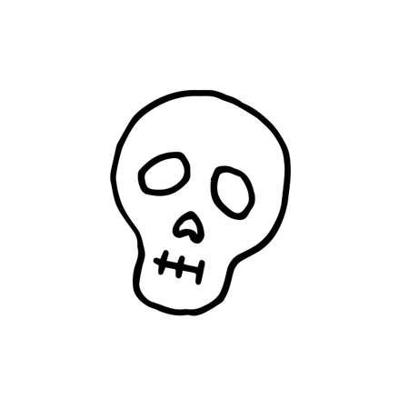 hand-drawn doodle illustration skull halloween black and white hand-drawn