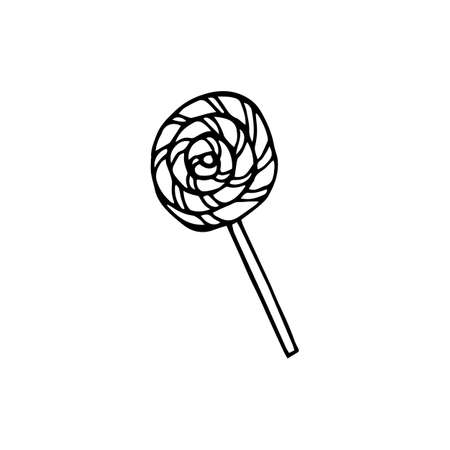 hand-drawn illustration of a lollipop round doodle in black and white style