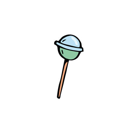 vector sweets blue round lollipop hand drawn in the style of doodle colored