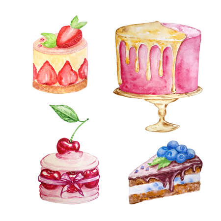 watercolor set of four cakes of different shapes and different colors on a white background hand-drawn
