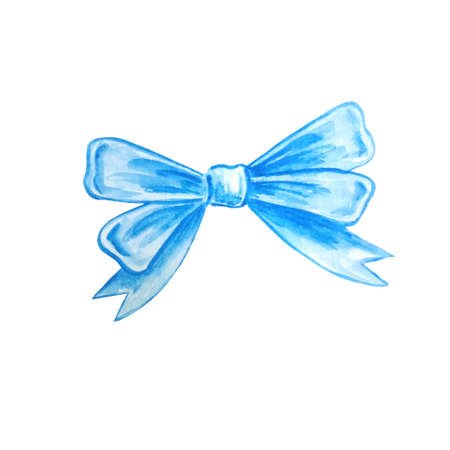 Watercolor holiday bow blue ribbon illustration, festive bunting clip art, birthday, valentine's day or christmas design elements isolated on white background. Hand painted in traditional style