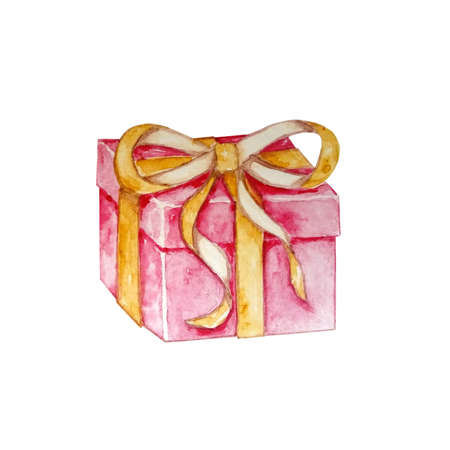 Watercolor Christmas illustration with gifts. Hand painted gift box with bow on white background. Festive illustration for design, postcard or print.