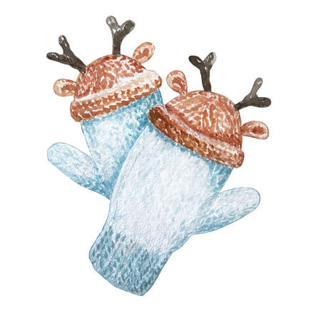 Watercolor pair of blue knitted mittens on a white background. Christmas hand drawn illustration of pink winter gloves with ornament and horns