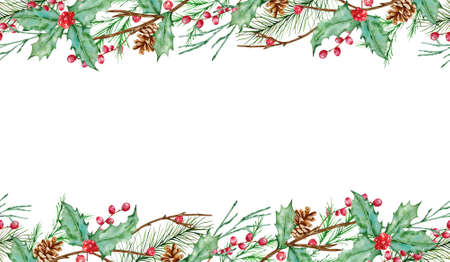 Watercolor Christmas wreath horizontal seamless composition with fir branches, holly berries, fir and pine cones and place for text. Illustration for greeting cards and invitations isolated on white background. Stock fotó