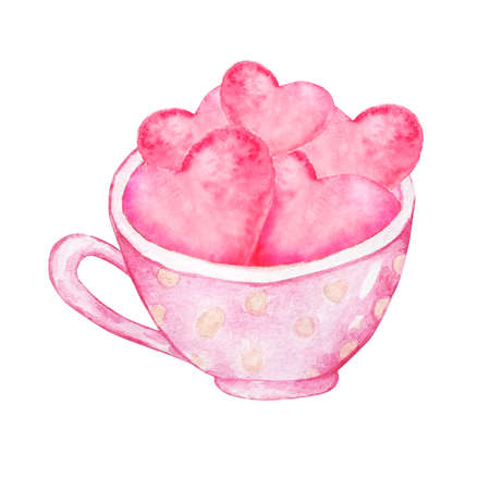 Watercolor pink cup with hearts inside. Handmade sketch. Design for postcards for Valentine's Day. Watercolor illustration.