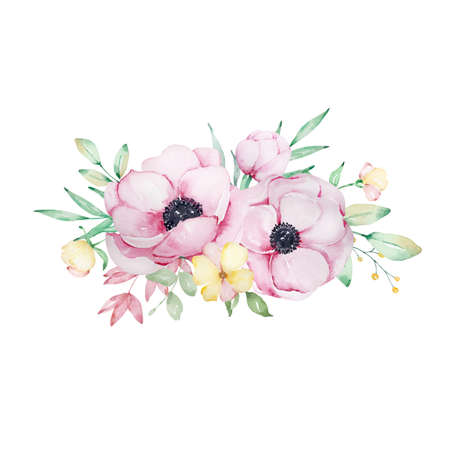 Watercolor bouquet of flowers of pink anemones, yellow flowers, leaves, branches. It's perfect for greeting cards, wedding invitations, greeting cards, and mother's day cards. Isolated botanical illustrations.