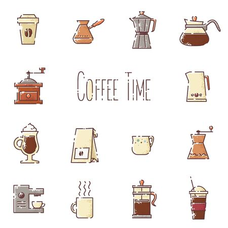 Vector coffee linear icons set Иллюстрация