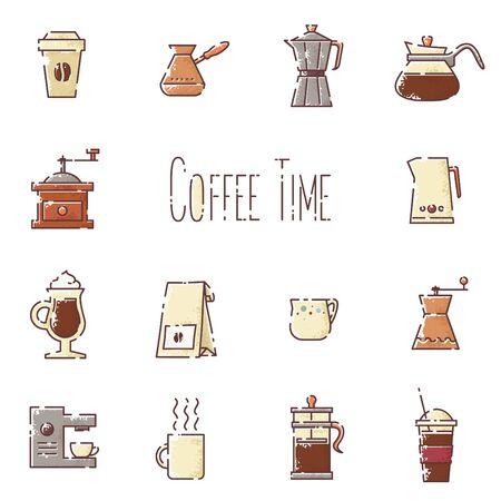 turkish coffee: Vector coffee linear icons set Illustration