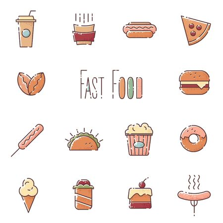 patties: Vector fast food linear icons set
