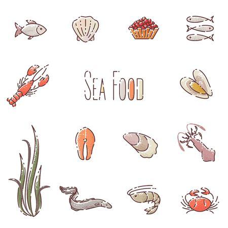 Vector sea food linear icons set