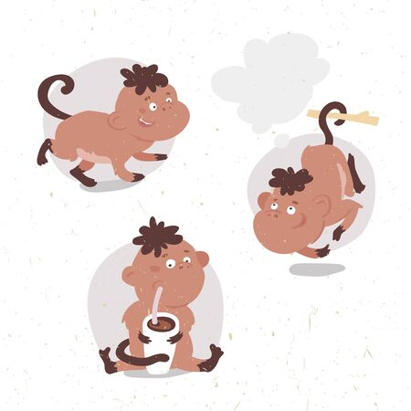 funny animals: set of funny vector cartoon monkey in different poses drinks cocoa