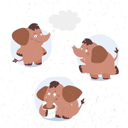 funny baby: set of funny vector cartoon baby elephant in different poses drinks cocoa Illustration