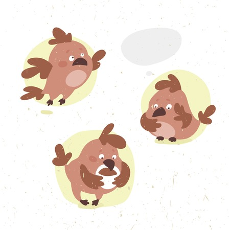 little bird: set of funny vector cartoon little bird in different poses drinks cocoa