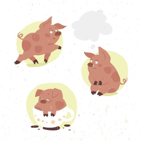 piglet: set of funny vector cartoon piglet in different poses drinks cocoa