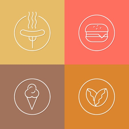 patties: vector linear fast food icon and badges design - drink concepts - trendy style