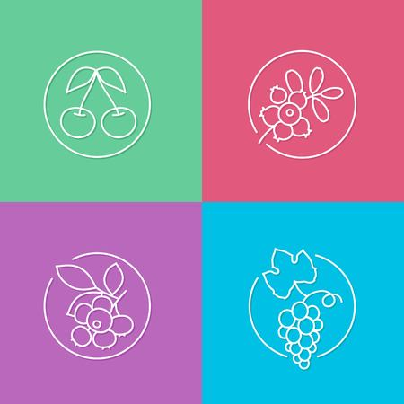 cereza: vector linear berries icon and badges design - drink concepts - trendy style