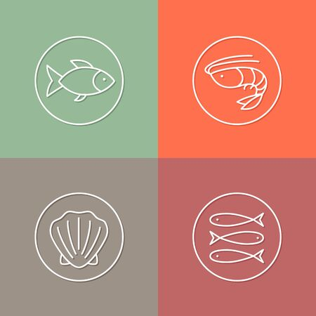 seashell: vector linear sea food icon and badges design - sea food concepts - trendy style