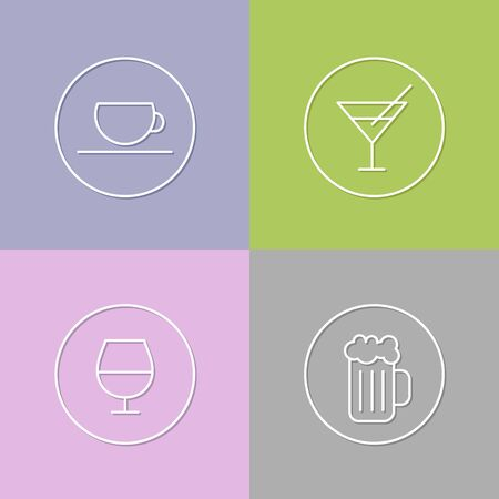port wine: vector linear drinks icon and badges design - drinks concepts - trendy style Illustration