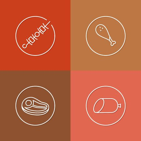 snag: vector linear meat icon and badges design - kitchen meat concept - trendy style