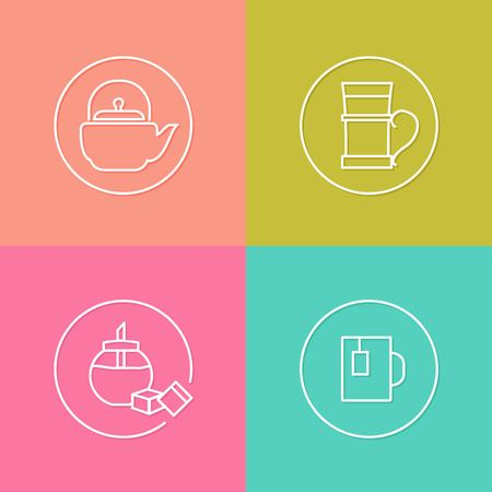 pot holder: vector linear tea icon and badges design - kitchen tea concept - trendy style