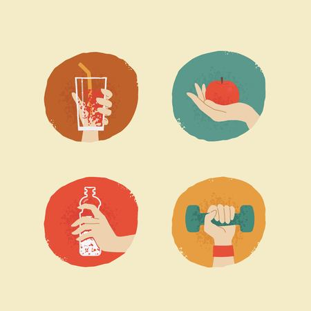 female hands: vector vintage style female hands with fitness accessories badges