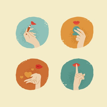 shush: vintage looking vector female hands and lips