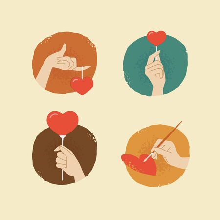 female hands: vintage looking vector female hands with hearts icons