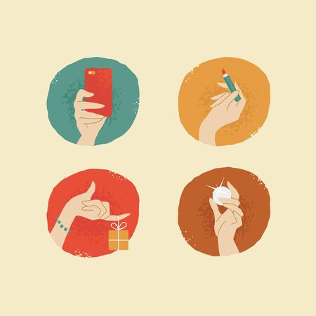female hands: vintage looking vector female hands with accessories icons set 03 Illustration