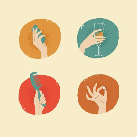 female hands: vintage looking vector female hands with accessories icons set 02