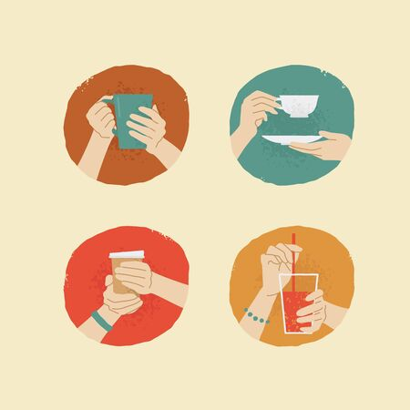 female hands: vector vintage style female hands with different drinks Illustration