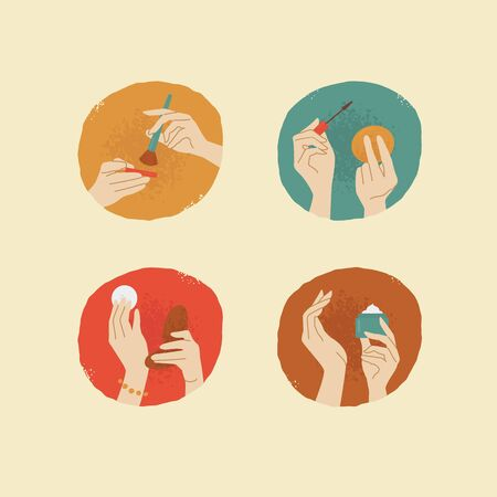 female hands: vector vintage style female hands with cosmetic things
