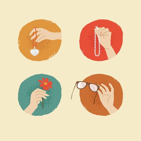vector vintage style female hands with silver locket glasses flower and pearl necklace Illustration