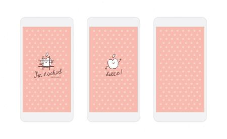 apple character: Vector white apple on pink background screens for mobile phone app with funny apple character
