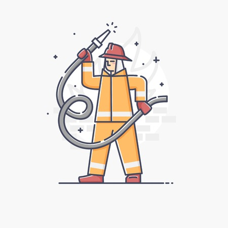 fire hose: Modern vector linear illustration of fireman holding fire hose isolated over a background Illustration