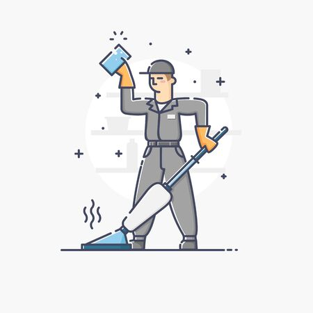 janitor: Modern vector linear illustration of janitor holding sponge and vacuum cleaner isolated over a background Illustration