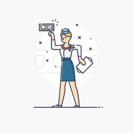 portholes: Modern vector linear illustration of stewardess holding tray isolated over a background Illustration