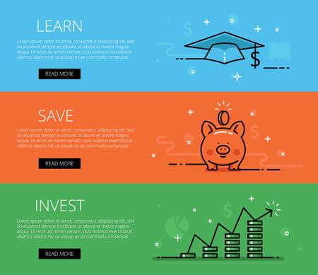 Linear financial web banners set. Line mortar board, piggy bank, money pillars, chart, diagrams, coins, currency symbol, money sign. Design set of graphic outline banners illustration